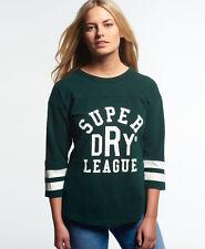New Womens Superdry Tri League Baseball Top Princeton Green