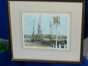 Limited edition Print of Barges at Pin Mill Suffolk by Philip Martin