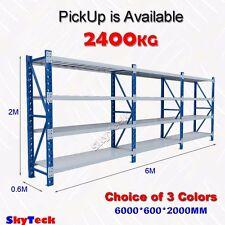 6m Metal Steel Garage Storage Warehouse Shelves Shelving Rack 2400kg 4-6020BG