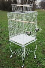 Large 20 Inch Parrot Bird Cage Top Play With Stand Wheel 20x20x57--0124 White275