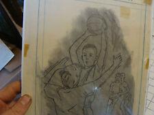 Original FOSTER CADDELL Drawing: Basketball ball over head