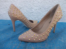 GIRL XPRESS BEIGE/BROWN FAUX LEATHER GOLD STUDDED COURT SHOES-SZ 9 BNWD