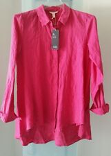 Eileen Fisher Ginger Pink Organic Handkerchief Linen Classic Collar Shirt PS