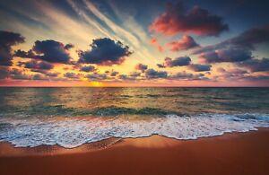 VLIES Fototapete-STRAND-(4906V)-Sonnenuntergang Wolken Dämmerung Meer Landschaft