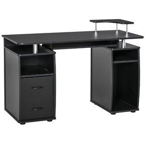 Modern Office Work Desk Computer Study Table Storage Shelf Drawer PC Rack Black