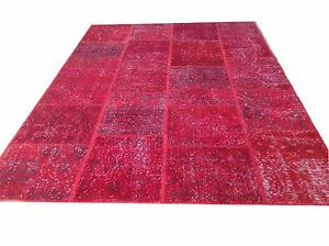 CUSTOM MADE red  vintage Overdyed Rug Handmade Turkish Patchwork Carpet rug
