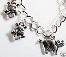 I maiali possono volare tono argento fatti a mano Bracciale con Charm 19-21cm
