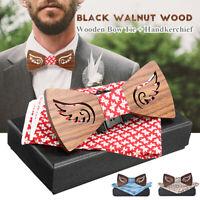 Men's Tie Set Wooden Wedding Bowtie Handkerchief Brooch Cufflink Fashion Box