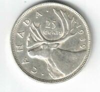 CANADA 1939 25 CENTS QUARTER KING GEORGE VI CANADIAN SILVER COIN