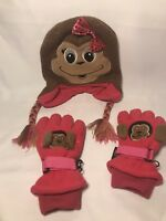 Thinsulate pink gloves+ monkey knit hat 40 gram snow warm winter girls 2-4 years