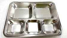 Stainless Steel 5 Compartment Food Serving Tray Cafeteria Restaurant Supply