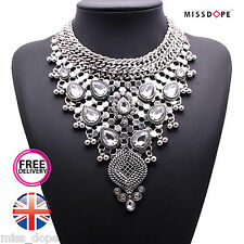 NEW MAXI SILVER LUXURY CRYSTAL NECKLACE WOMENS LADIES GEM STATEMENT BIB INDIAN