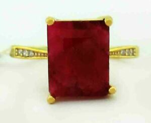 GENUINE 3.82 Cts RUBY & WHITE SAPPHIRES RING 925 SILVER (Gold) NWT SIZE 5.75