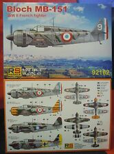 Bloch mb-151, 1:72, kit di plastica, RS-Models, NUOVO, 'diversi decals