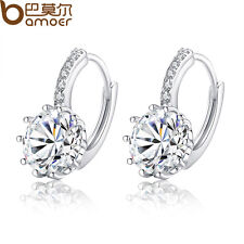 Genuine Platinum Plated Round Hoop Earrings With AAA Zircon CZ For Women Jewelry