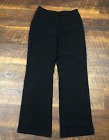 Ann Taylor Petites Black Wide Leg Cuffed Lined sz 6P Career Women's Dress Pants