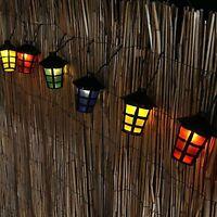 10 LED Coloured Party Lantern Garden Xmas Lights Festive Outdoor String Fairy