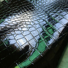 High Glossy PVC Faux Leather Fabric Smooth Black Crocodile Vinyl Bag Material