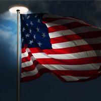 USA Flag Pole LED Solar Powered Automatic Light Night Super Bright Flagpole