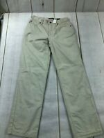 Eddie Bauer Womens Flat Front High Rise Straight Leg Off White Pants Size 6