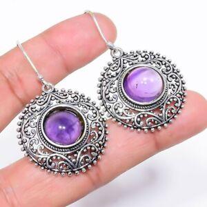 "Amethyst Gemstone Handmade Ethnic Silver Jewelry Earring 2.0"" RE440"