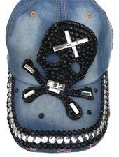 Denim Ball Cap with Skull & Rhinestones - Adjustable Size -  Free Shipping