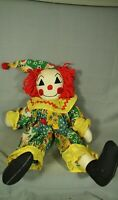 "large vintage cloth handmade Raggedy Ann Andy Clown jester doll 20"""