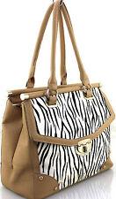Ladies Zebra Print Leather Style Fur Frame Tote Messenger Shoulder Bag Handbag