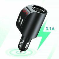 Fast 3.1A 2 USB One Way Car Cigarette Lighter Socket Splitter Charger Adapter