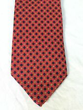 Brooks Brothers Silk Neck Tie Red with blue & Yellow Geometric Foulard Pattern