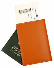 Genuine leather passport holder case LightBrown cover wallet card protect travel