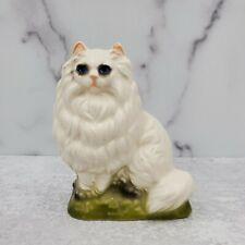 Vintage Japan Fancy Persian White Cat On Green Base Ceramic Figurine