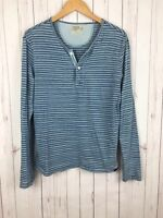 Faherty Mens Blue Striped Indigo Dye Cotton Slim Fit Henley Shirt Small
