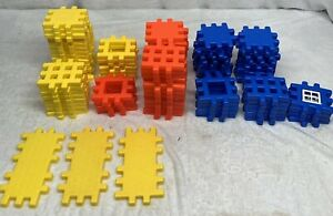 Huge Lot of LITTLE TIKES WAFFLE BLOCKS 93 Pieces Building Toys Primary Colors