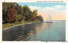 DETROIT LAKES MN 1930 Boating on Detroit Lake VINTAGE MINNESOTA TOURIST LAKE GEM