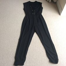 River Island 10 black trouser jumpsuit eyelet top part eve party holiday xmas