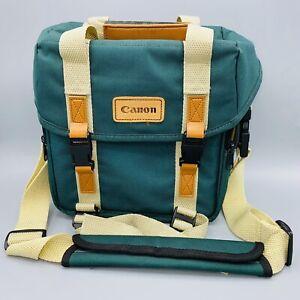 Vtg 90s Canon Camera & Lens Shoulder Bag Organizer Case Green 12x7x8 AE-1 rebel