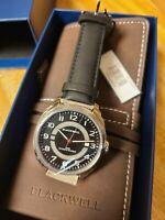 BLACKWELL Hamptons Watch Black Dial 42mm Swiss AUTOMATIC Leather Band NIB