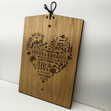 Wedding Gift Personalised Oak Wooden Plaque Sign Heart Design - Bride And Groom