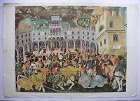 Wandbild Ritterspiele Ritterturnier Mittelalter 92x64cm ~1960 vintage tourney