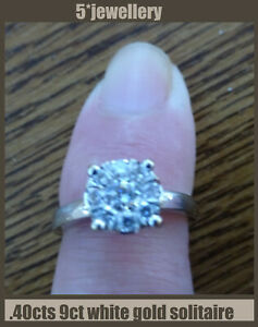 real new ring 9ct white gold diamond solitaire cluster .40cts wedfit engagement