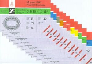 13 Different Unused Tickets: 1980 Olympics Track & Field/Athletics Moscow, USSR