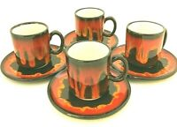 Vintage MCM Swiss Ceramic Handmade Lava Glazed Coffee Cups and Saucers Set of 4