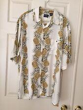 Puritan Mens Hawaiian Shirt Pineapple XL (46/48) Viscose Rayon, EUC