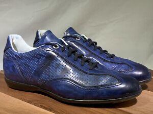SANTONI Flat Blue Leather Sneakers US 10D Shoes