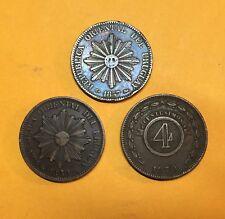 20 CENTESIMOS 1857 - 1869 URUGUAY / 4 CENTESIMOS 1870 PARAGUAY  - LOT 3 MONNAIES