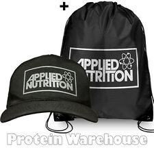 Applied Nutrition Black Swoosh Gym Sack Drawstring Work Out Bag + AN Cap Hat
