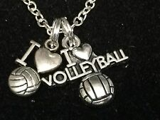 """I Love Volleyball Mix F Charm Tibetan Silver 18"""" Necklace"""