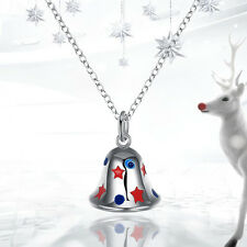 Lady Creative Alloy Christmas Bell Silver Plated Chain Pendant Necklace Jewelry