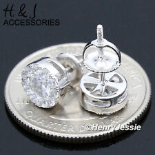 MEN 925 STERLING SILVER 8MM LAB DIAMOND ROUND SCREW BACK STUD EARRING*AE143